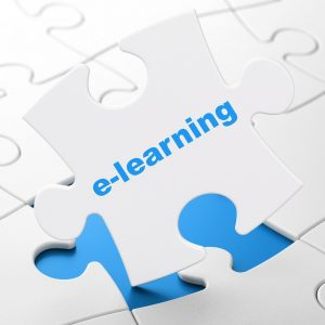 Education concept: E-learning on White puzzle pieces background, 3D rendering